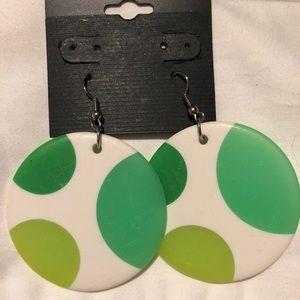 NWT Wire Green & White Polka Dots Earrings